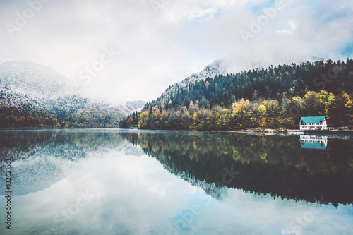 Lake and autumn Forest Landscape Travel foggy serene scenic view wild nature moody weather