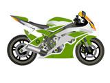 MOTORCYCLE IN VECTOR GREEN