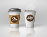 Fototapety Realistic paper coffee cup set.