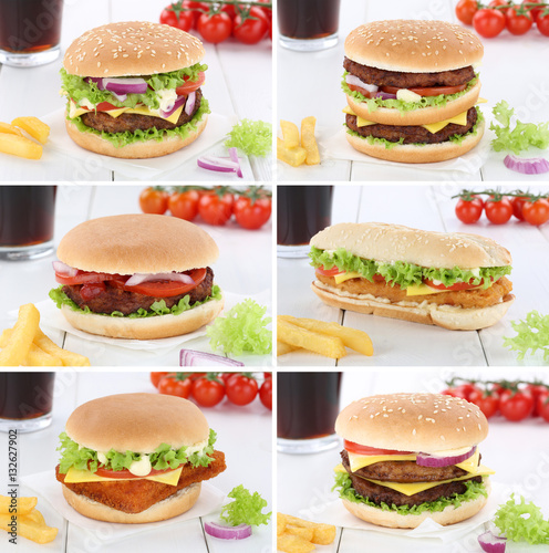 Plagát, Obraz Hamburger Sammlung Collage Cheeseburger Menu Menü Menue Geträn