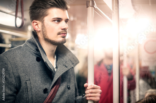 Poster Portrait of a guy on the tram