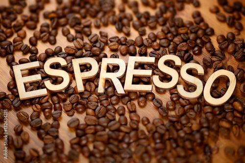 Poster Wooden word Espresso