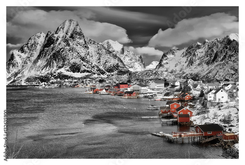 reine lofoten norwegen panorama schwarz weiss coloriert. Black Bedroom Furniture Sets. Home Design Ideas
