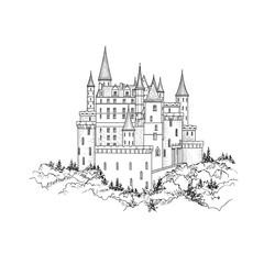 Castle landmark sketch illustration. Medieval palace building wi