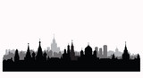 Moscow city buildings silhouette. Russian urban landscape. Moscowcityscape. Travel Russia background