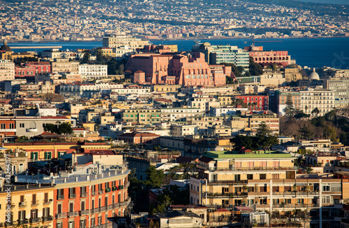 Aerial winter view of Naples historical center