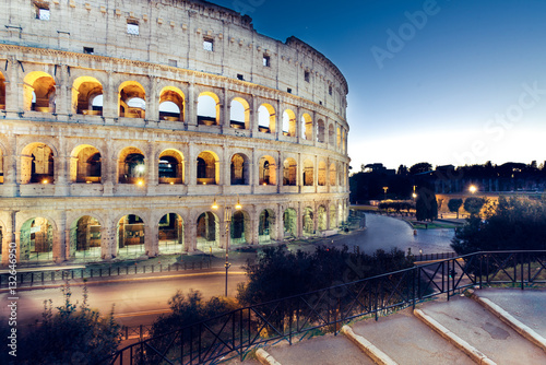night view of Colosseum, Rome, Italy