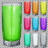 Set of transparent glasses with multicolored translucent drinks on transparent background. Transparency only in vector file