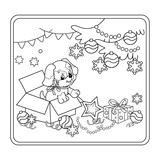 Coloring Page Outline Of Christmas tree with ornaments and gifts with puppy. The year of the dog. Christmas. New year. Coloring book for kids