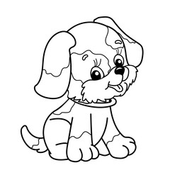 Coloring Page Outline Of cartoon dog. Cute puppy sitting. Pet. Coloring book for kids