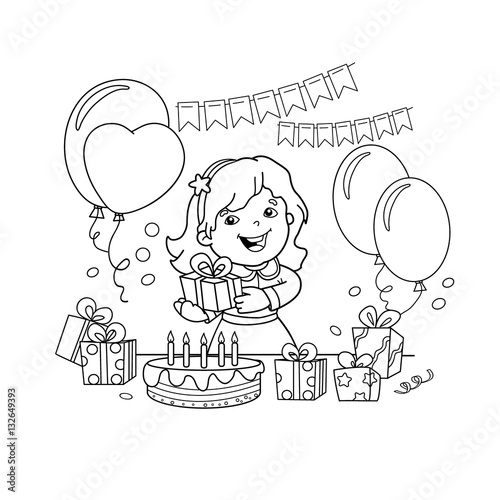 Coloring Page Outline Of cartoon girl with a gift at the holiday. Coloring book for kids