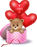 Cartoon bear in a gift box holding red shape balloon