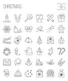 Christmas and winter line icons set in single color.