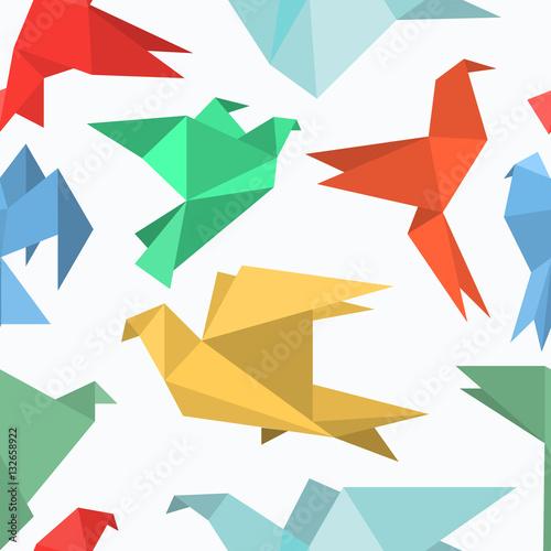 Poster Geometrische dieren Origami paper birds in a flat style.