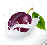Blue plum in a milk splash on a transparent background. Vector.