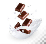 Chocolate in a milk splash on a transparent background. Vector.