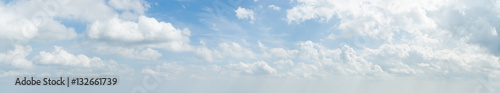 Fototapeta Panorama of white cloud and blue sky in morning