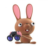 3d Cute Easter bunny rabbit with binoculars