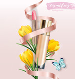 Cosmetic product, Foundation, concealer, creamwith lipstick and flowers crocuses. Beauty and cosmetics background. Use for advertising flyer, banner, leaflet.Template Vector.