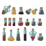 Bottles of Potion Set. Glass Flasks with Liquids.