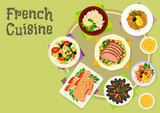 French cuisine snacks and salads icon design - 132665330