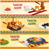 Turkish cuisine sweets with coffee banner set