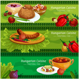 Hungarian cuisine meat dishes banner set