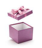 Fototapety Purple open gift box isolated on white background - Clipping path included
