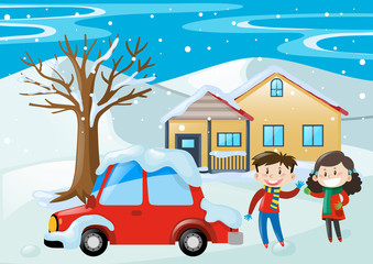 Scene with kids and car covered with snow