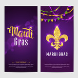 Mardi gras brochures. Vector logo with hand drawn lettering and golden fat tuesday symbols. Greeting card with shining beads on traditional colors background.