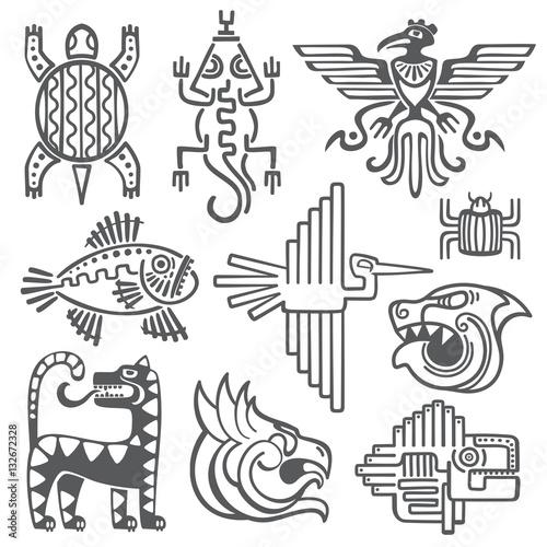 Historic Aztec Inca Vector Symbols Mayan Temple Pattern Native