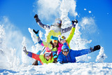 Group happy friends ski resort - 132672906