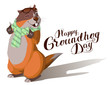 Happy Groundhog Day. Marmot casts shadow. Lettering text for greeting card