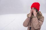 Sinus pain, sinus pressure, sinusitis. Sad woman holding her nos