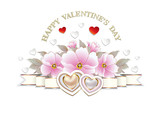 Valentines Day card with beautiful hearts and flowers