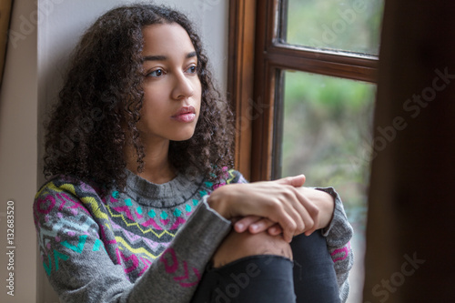 Sad Depressed Mixed Race African American Teenager Woman