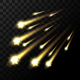 Vector falling stars on transparent background. Space star light shooting in dark