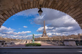 Eiffel tower view from Bir Hakeim bridge, Paris, France