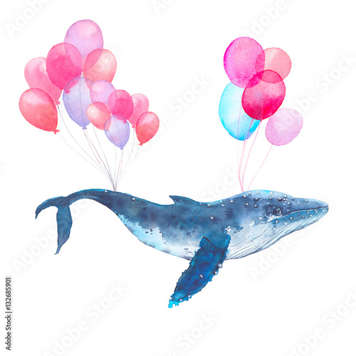 Watercolor blue whale flying on air balloons. Fairytale hand painted sea animal isolated on white background. Artistic print design - 132685901