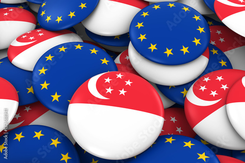 Poster Singapore and Europe Badges Background - Pile of Singaporean and European Flag B