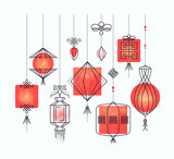 Vector set of asian street and holiday lanterns, chinese decorat