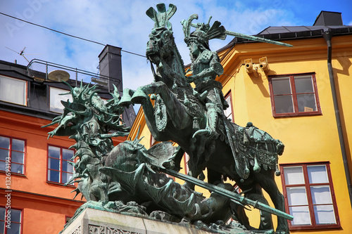 Poster Statue of Sankt Goran & the Dragon in Stockholm, Sweden