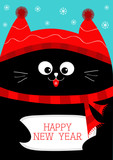 Black Cat holding Happy New Year. Cute funny cartoon character. Snow flake, red hat, scarf. Flat design Blue background.