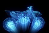 Motorbike in Hologram Wireframe Style. Nice 3D Rendering - 132702597
