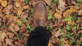 Male Legs Walking on Autumn Leaves