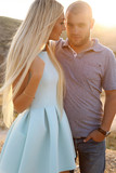beautiful couple in casual clothes posing outdoor - 132703322