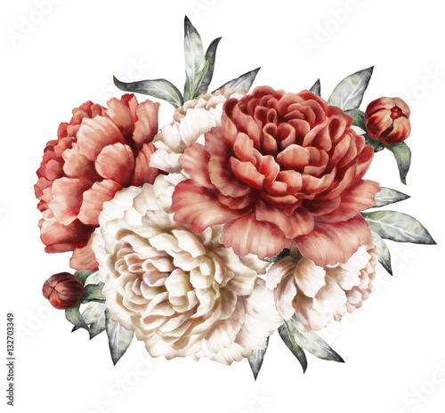 red peonies. watercolor flowers. floral illustration in Pastel colors. bouquet of flowers isolated on white background. Leaf and buds. Romantic composition for wedding or greeting card - 132703349