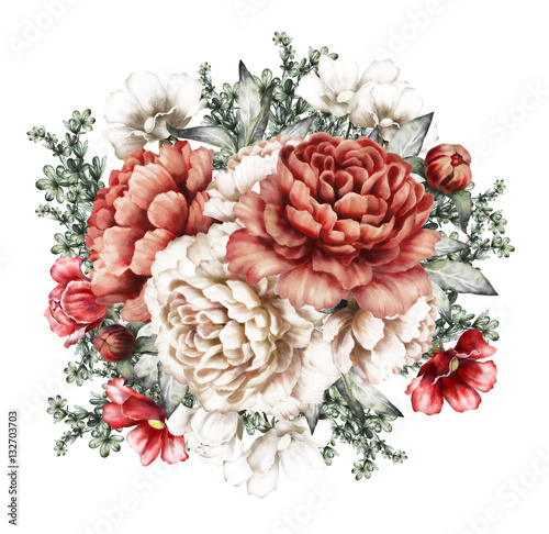 red peonies. watercolor flowers. floral illustration in Pastel colors. bouquet of flowers isolated on white background. herbs, Leaf and buds. Romantic composition for wedding or greeting card - 132703703