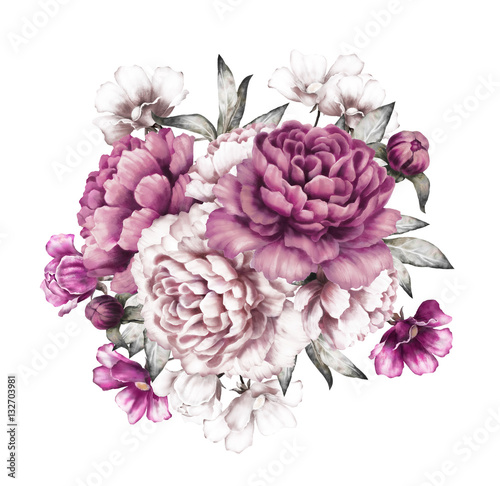 pink peonies. watercolor flowers. floral illustration in Pastel colors. bouquet of flowers isolated on white background. Leaf and buds. Romantic composition for wedding or greeting card - 132703981