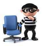 3d Burglar finds an empty office chair